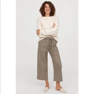 H&M Wide Leg Pants Tie Belt Checkered Plaid Beige